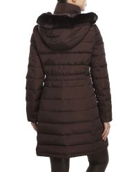 Ivanka Trump | Brown Faux Fur Trim Down Coat | Lyst