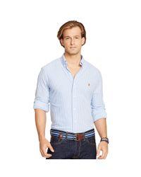 Polo Ralph Lauren - Blue Striped Knit Oxford Shirt for Men - Lyst