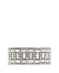 Philippe Audibert | Metallic Engraved Rhinestone Elasticated Bracelet | Lyst