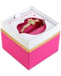 Betsey Johnson   Metallic Gold-tone Crystal Skull Bangle Bracelet   Lyst
