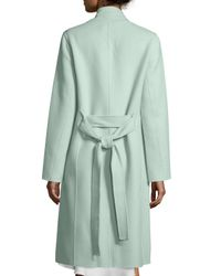 Halston - Green Double-face Belted Coat - Lyst