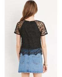 Forever 21 | Black Scalloped Floral Crochet Top You've Been Added To The Waitlist | Lyst