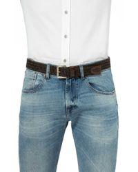7 For All Mankind - Herringbone Belt Leather Brown for Men - Lyst