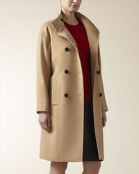 Jaeger - Natural Wool Cashmere Funnel Neck Coat - Lyst