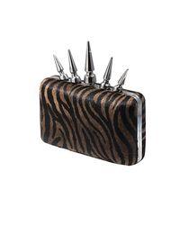 Bernard Delettrez - Metallic Zebra Pony Hair Spike Clutch - Lyst