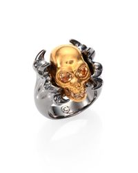 Alexander McQueen | Metallic Twotone Claw Skull Punk Ring for Men | Lyst