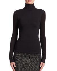 Donna Karan - Black Sheer-sleeve Turtleneck - Lyst