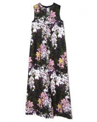 MSGM - Long Green Floral Column Dress - Lyst