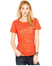 Lucky Brand | Red Lucky Brand Open-knit Contrast Blouse | Lyst