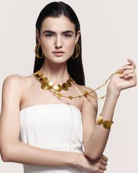 Jose & Maria Barrera - Metallic 24k Gold-plated Disc Necklace - Lyst