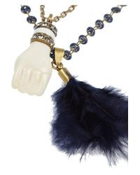 Isabel Marant - White Set Of Two Gold-Tone, Bone, Feather And Crystal Necklaces - Lyst