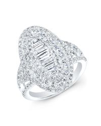 Anne Sisteron - Metallic 14kt White Gold Baguette Diamond Era Ring - Lyst