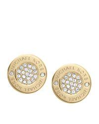 Michael Kors - Metallic Pavã© Logo Earrings - Lyst
