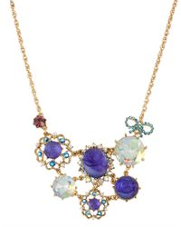 Betsey Johnson - Purple Carved Flower Necklace - Lyst