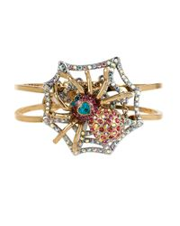 Betsey Johnson | Metallic Gold-tone Crystal Spider Bangle Bracelet | Lyst