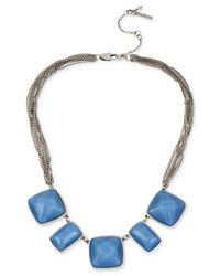 Kenneth Cole | Kenneth Cole Silver-tone Blue Bead Frontal Necklace | Lyst