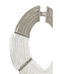 BCBGMAXAZRIA - Gray Draped Bead Necklace - Lyst