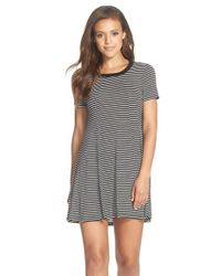 BCBGeneration - Black Stripe Jersey T-shirt Dress - Lyst