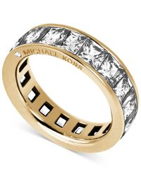 Michael Kors | Metallic Gold-tone Ring With Square Cut Crystal Stones | Lyst