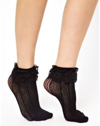 Leg Avenue - Black Crochet Net Lace Top Anklet - Lyst