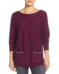 Vince Camuto | Purple Colorblock Boatneck Sweater | Lyst