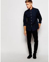ASOS - Blue Brushed Oxford Shirt In Regular Fit for Men - Lyst