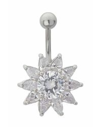 TOPSHOP - Metallic Flower Drop Belly Bar - Lyst