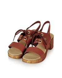 TOPSHOP - Brown Highness Lace-up Sandals - Lyst