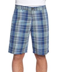 Tommy Bahama | Blue 'you Plaid Bro' Plaid Linen Blend Shorts for Men | Lyst