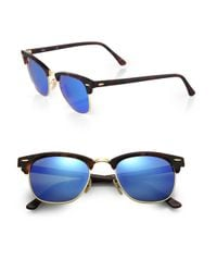 Ray-Ban Blue Clubmaster Mirrored Lens Sunglasses for men