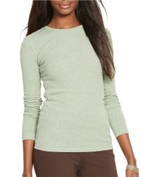 Lauren by Ralph Lauren | Green Cotton Crewneck Shirt | Lyst