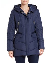 Kensie | Blue Faux Fur-trimmed Quilted Coat | Lyst