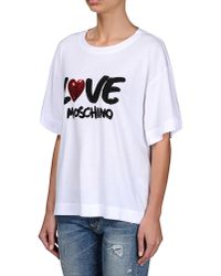 Love Moschino | White Short Sleeve T-shirts | Lyst