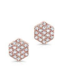 Anne Sisteron - Pink 14kt Rose Gold Hexagon Diamond Stud Earrings - Lyst