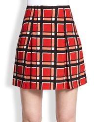 Marc By Marc Jacobs - Orange Plaid Pleated Mini Skirt - Lyst