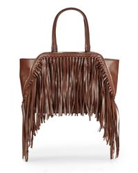 Sondra Roberts | Brown Fringed Faux-Leather Tote | Lyst