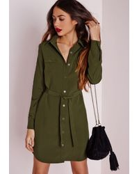 Missguided - Natural Utility Shirt Dress Khaki - Lyst
