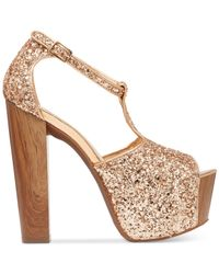 Jessica Simpson | Metallic Dany T-strap Platform Dress Sandals | Lyst