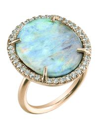 Irene Neuwirth Blue Oval Boulder Opal Ring