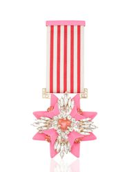 Shourouk | Pink Rose Medal Pin | Lyst