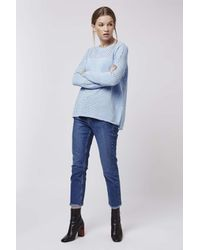 TOPSHOP - Blue Pointelle Panelled Top - Lyst