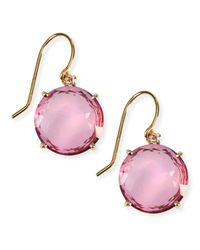 KALAN by Suzanne Kalan - 14k Yellow Gold Wire Drop Earrings In Pink Topaz - Lyst