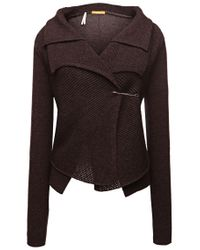 BOSS Orange - Brown New-wool Cardigan 'ivettina' In A Layered Look - Lyst