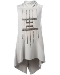 Rick Owens - Gray Sequined High Low Knit Top - Lyst
