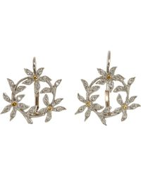 Cathy Waterman - Metallic Circle Of Flowers Drop Earrings - Lyst
