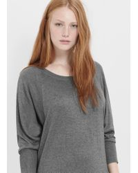 Violeta by Mango | Gray Knit Cotton-blend Dress | Lyst