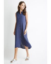 Forever 21 - Blue Button-down Midi Dress - Lyst