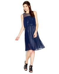 Maison Jules - Blue Sleeveless Crochet-Yoke Layered-Look Dress - Lyst