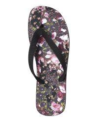 Givenchy - Black Floral Flip Flips - Lyst