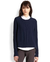 The Kooples - Blue Wool & Cashmere Slouched Cable-Knit Sweater - Lyst